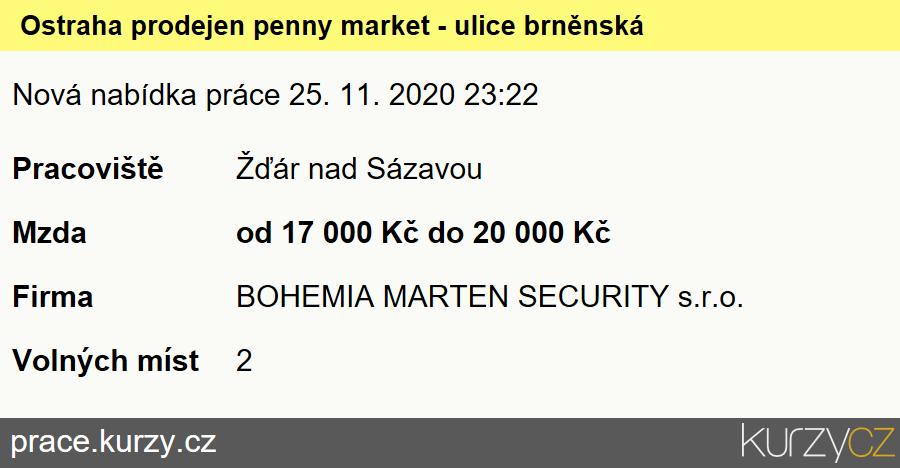 Ostraha prodejen penny market - ulice brněnská, Pracovníci ostrahy, strážní
